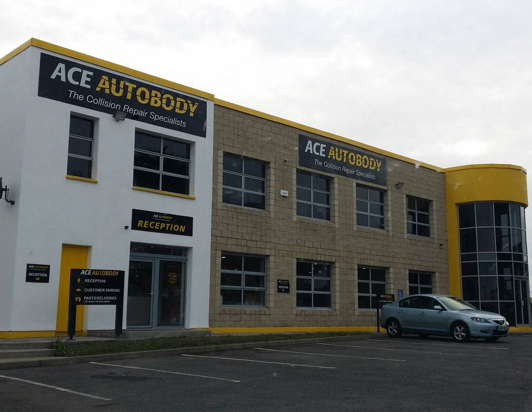 Some 100 watt Led flood lights fitted outside the new offices at Ace Autobody Limerick